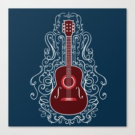 Acoustic Guitar With A Scroll Design Canvas Print
