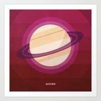 saturn Art Prints featuring SATURN by Melissa Pierce