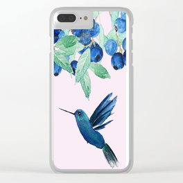 blueberry and humming bird Clear iPhone Case