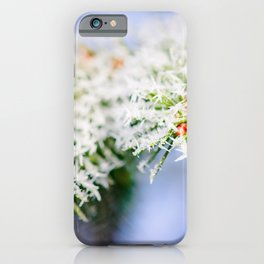 Bitter Cold, White Ice Crystals On Green Needles iPhone Case