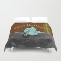 moto Duvet Covers featuring Moto Italiano by DavidERobinson