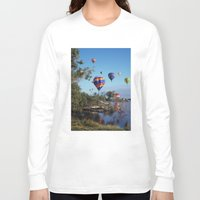 aviation Long Sleeve T-shirts featuring Hot air balloons over lake by Bruce Stanfield Photographer