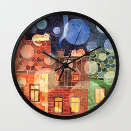 Cats on roofs watercolor illustration Wall Clock