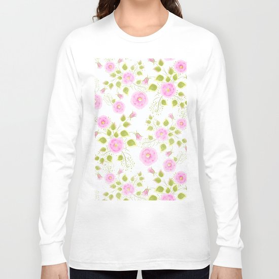 Pink flowers on a white background Long Sleeve T-shirt