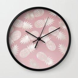 Blush Pineapple Pattern Wall Clock