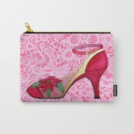 Red Shoes on Pink Lace with Poinsettia Carry-All Pouch
