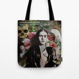 Frida Kahlo skulls and flowers Tote Bag