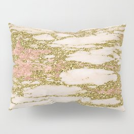 Glitter Gold and Rose Gold Marble With Diamonds Pillow Sham