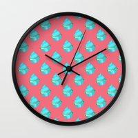 cupcake Wall Clocks featuring Cupcake by tiffato3