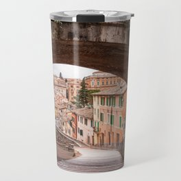 View of a 13th century acqueduct in Perugia, Umbria, Italy. Travel Mug