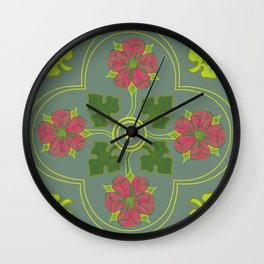 Tudor Rose with Sage Wall Clock