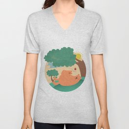 bear-ther and daughter-ooo nina bobo Unisex V-Neck