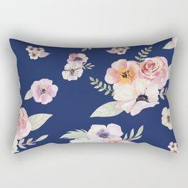 Floral I - Dark New Navy Rectangular Pillow