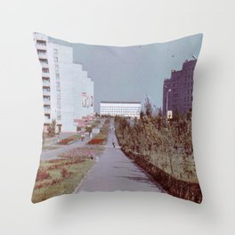 Pobedy Avenue in Amursk (1985) Throw Pillow