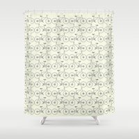 bicycles Shower Curtains featuring Bicycles by superdumb