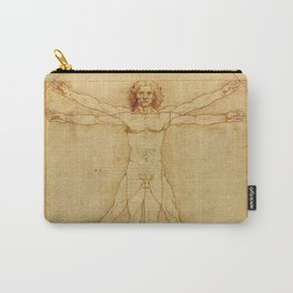 The Vitruvian Man 1405 (L Uomo Vitruviano) Leonardo da Vinci Artwork for Prints Posters Tshirts Men Carry-All Pouch