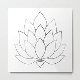 Silver Foil Lotus Flower Metal Print