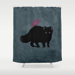Cat and bird friends! Shower Curtain