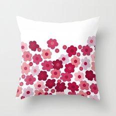 cherry blossom pop white Throw Pillow