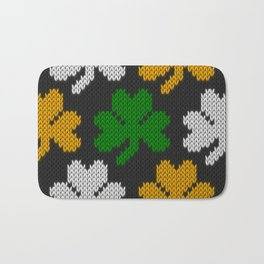 Shamrock pattern - black, orange, green, white Bath Mat