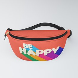 BE HAPPY - rainbow retro typography Fanny Pack