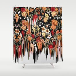 Free Falling, melting floral pattern Shower Curtain