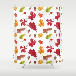 Autumn leaves pattern. Seamless pattern with various hand drawn autumn leaves.  Shower Curtain