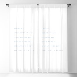 Minimalist Cerulean Blue Typography Quote Create, Conquer & Achieve Blackout Curtain