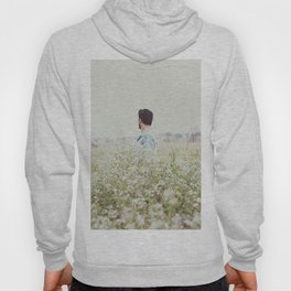 Man - Flowers - Field - Photography Hoody