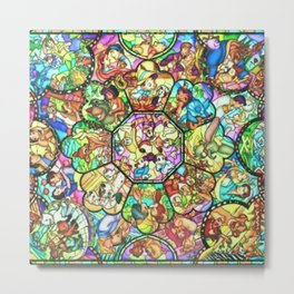 Mickey Mouse and Friends - Stained Glass Window Collage Metal Print