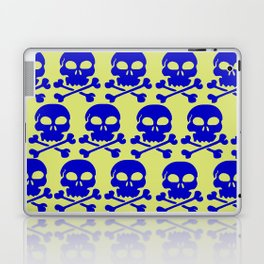 Skull Crazy- blue on green Laptop & iPad Skin
