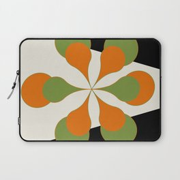 Mid-Century Modern Art 1.4 - Green & Orange Flower Laptop Sleeve