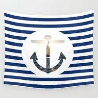 nautical Wall Tapestries featuring Nautical Anchor by D Λ V I D