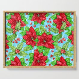 Poinsettia and holly berry Christmas pattern Serving Tray