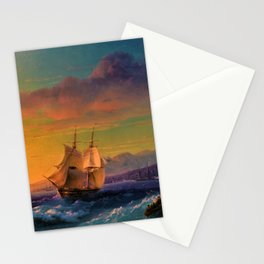 Ship at Sunset off of Cape Martin by Ivan Aivazovsky Stationery Cards