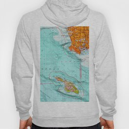 Long Beach colorful old map Hoody