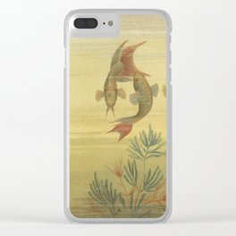 Paradise Fish Scene from 1887 Lithograph (Macropodus Viridi Auratus) Clear iPhone Case