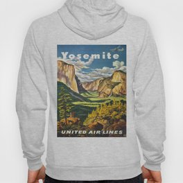 Yosemite National Park Vintage Travel Poster Landscape Illustration Hoody