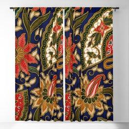 Indonesian Batik Floral Pattern With Fans Blackout Curtain