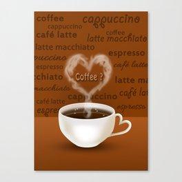 Coffee? Heart Shaped Smoke Canvas Print