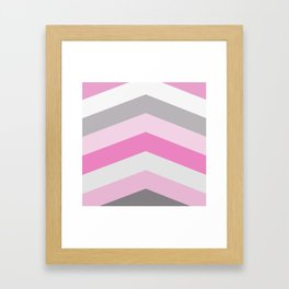 Pink and gray chevron Framed Art Print