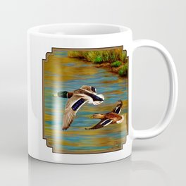 Mallard Ducks in Flight Coffee Mug