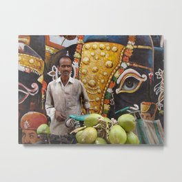Coconut seller - streets of India Metal Print