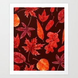 Autumn leaves watercolor Art Print