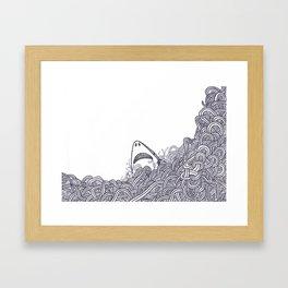 Peeking Shark Framed Art Print