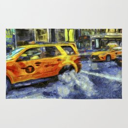 New York Taxis Art Rug