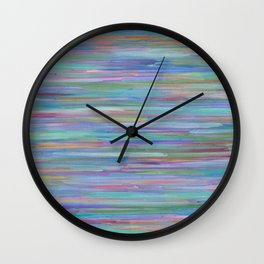 Turquoise Lines Abstract Lines Painting, Original Striped Artwork by Toronto Artist Rachael Grad Wall Clock