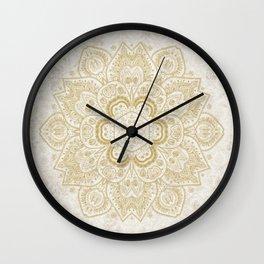 Mandala Temptation in Golden Yellow Wall Clock