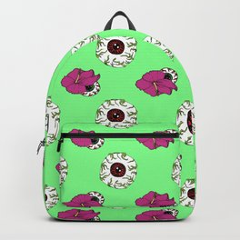 Hibiscus Eyeball Repeat in Zombie Green Backpack
