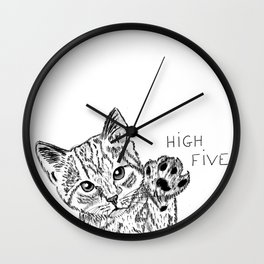 Kitten high five Wall Clock